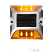 Plot Routier LED Solaire Fixe Orange 6 Leds