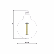 Ampoule LED E27 G125 Silver  DIMMABLE FILAMENT  6W