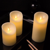 BOUGIES LED FLAMME Ivoire lot de 3