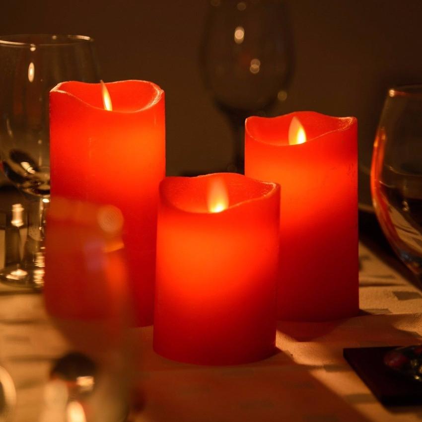 Lot Led Rouge De Bougies Flamme 3 4AR35jLq