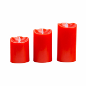 Bougie LED Cire Naturelle Flamme Rouge lot de 3