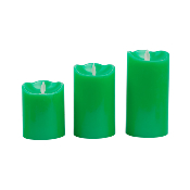 Bougie LED Cire Naturelle Flamme Verte lot de 3